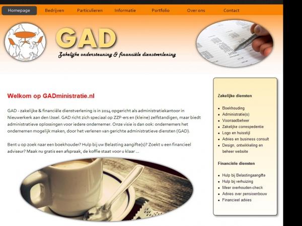 Website van GAD - zakelijke & financiele dienstverlening