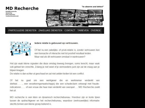 Website van MD Recherche